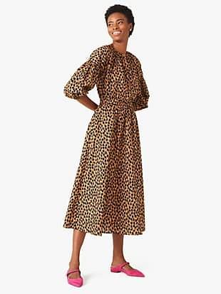 dotty leopard poplin midi skirt