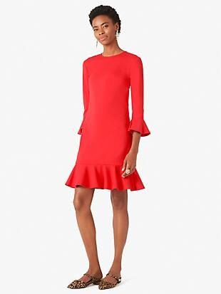 ponte flounce shift dress