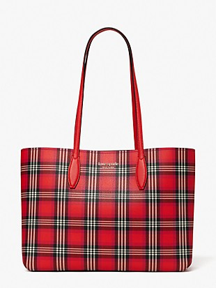 all day foliage plaid large tote