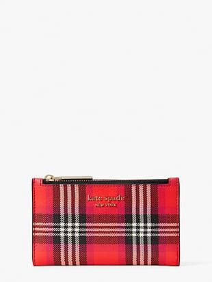 spencer foliage plaid small slim bifold wallet