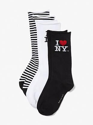 i love ny x kate spade new york 3-pack crew socks