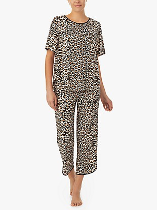 classic leopard crop pj set