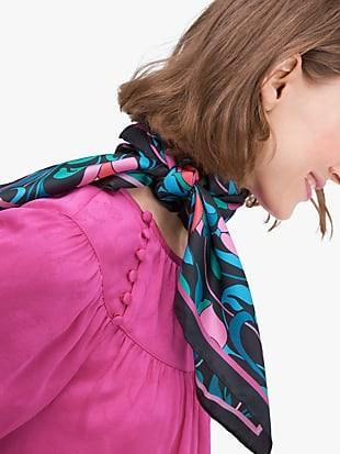 floral swirl silk square scarf