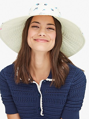 dainty bloom long brim reversible bucket hat