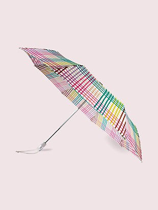 rainbow gingham travel umbrella