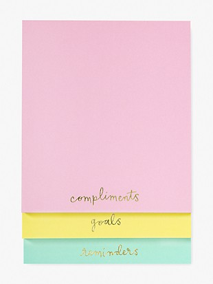 compliments, goals, reminders stacked notepad