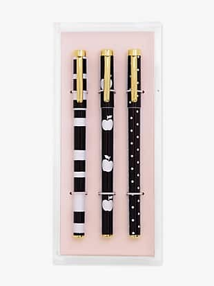 dots & stripes fine tip pen set with acrylic tray