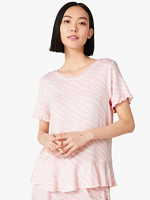 soft zebra short sleeve lounge top
