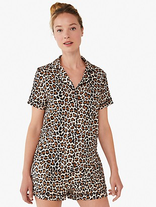 classic leopard short pj set