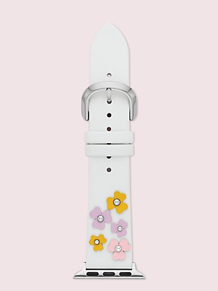floral appliqué white leather 38/40mm band for apple watch®
