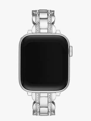 silver pavé scallop link band for apple watch®