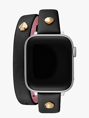 black double-wrap leather 38/40mm band for apple watch®
