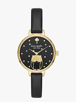 metro owl black leather watch