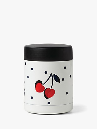 vintage cherry dot insulated food container