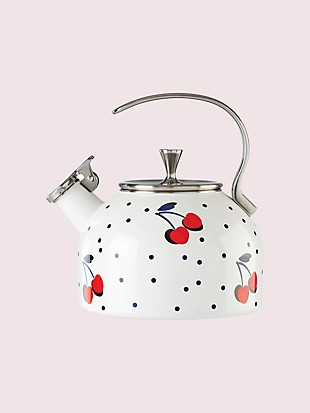 vintage cherry dot tea kettle