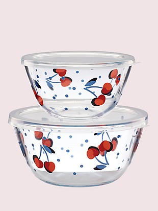 vintage cherry dot round serve-and-store set