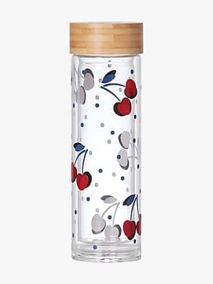 vintage cherry dot water bottle