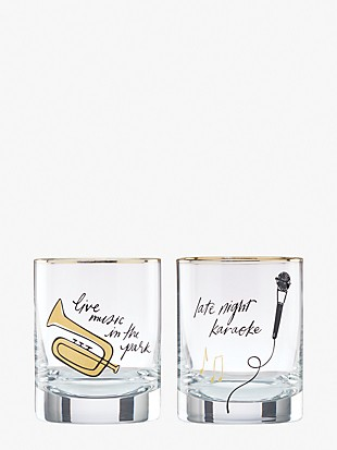 good times in a new york minute double old fashioned glass set