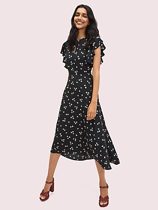 ditsy begonia flutter-sleeve dress