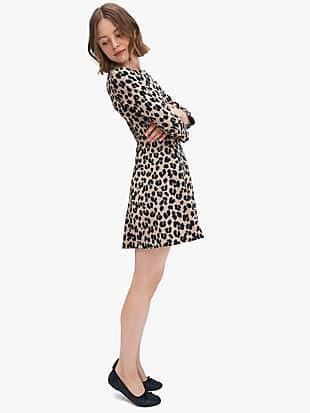 forest feline jacquard dress