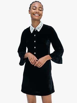 jewel-button velvet shirtdress