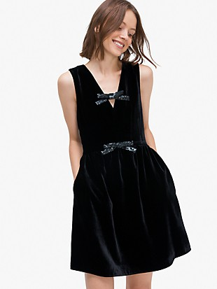 sequin-bow velvet dress