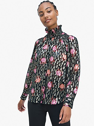 rose garden smocked neck top