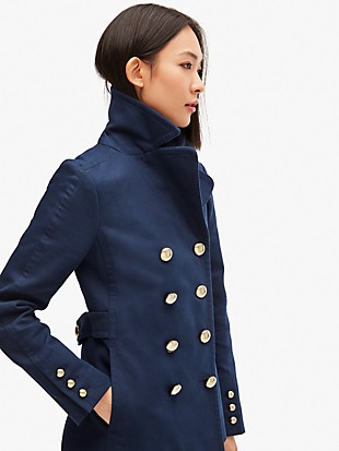 cotton classic double-breasted peacoat