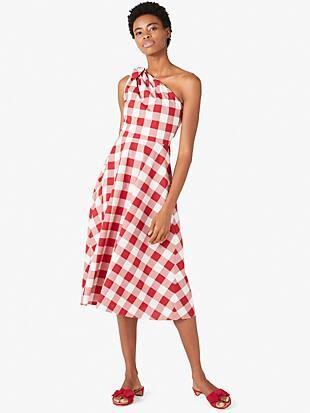 gingham one-shoulder dress