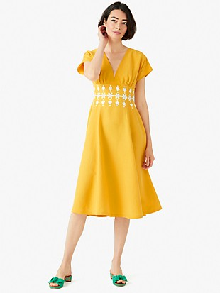 daisy embroidered fit-and-flare dress
