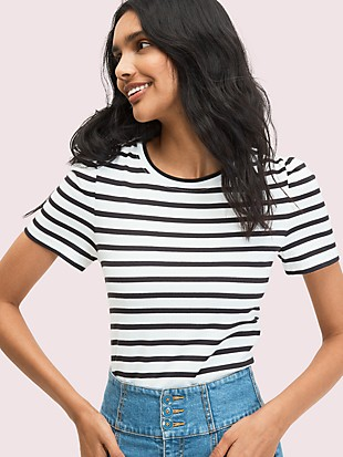 striped puff-sleeve tee