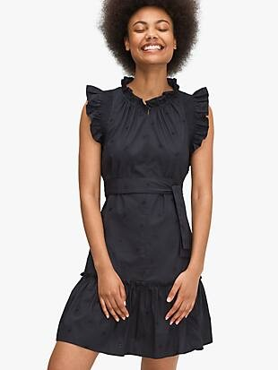 embroidered poplin mini dress