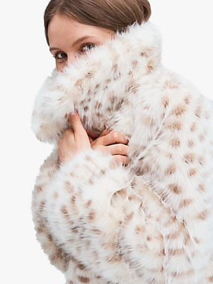 spotted faux fur jacket