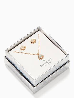everyday spade glitter studs and pendant set
