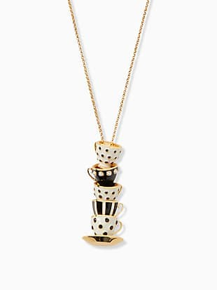 alice in wonderland stacked teacup pendant necklace