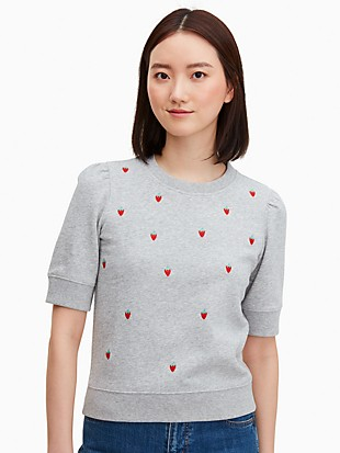 strawberry-embroidered pullover