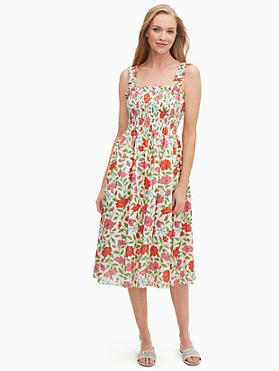 bold garden blooms smocked dress