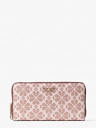 spade flower coated canvas zip-around continental wallet