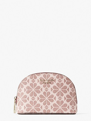 spade flower coated canvas small dome cosmetic case