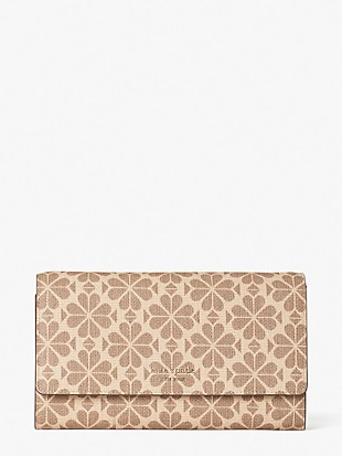 spade flower coated canvas chain clutch