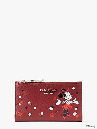 disney x kate spade new york minnie mouse small slim bifold wallet
