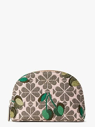 spade flower jacquard cherry small dome cosmetic case