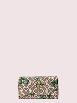 spade flower jacquard cherry chain clutch