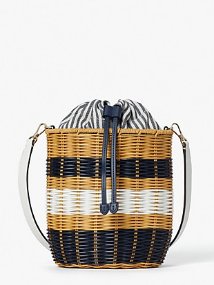 buoy wicker medium bucket bag