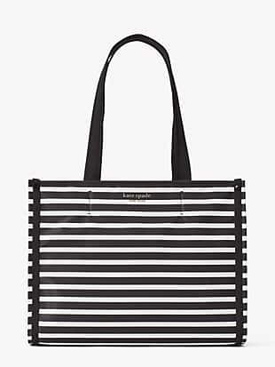 케이트 스페이드 토트백 Kate Spade the little better sam stripe medium tote,BLACK/CLOTTED CREAM