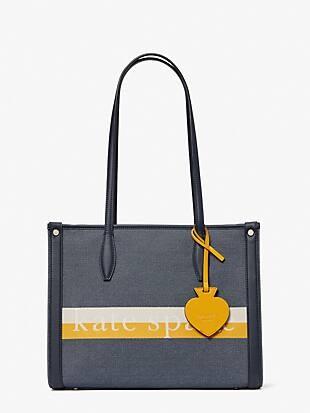 케이트 스페이드 토트백 Kate Spade market logo striped medium tote,YELLOW MULTI