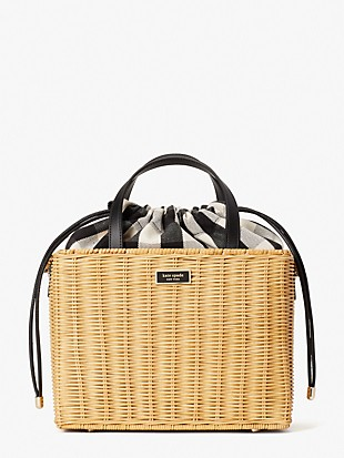 sam gingham wicker medium satchel