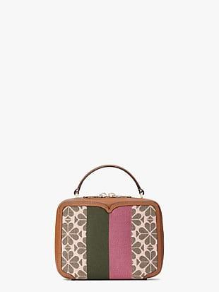 spade flower jacquard vanity stripe mini top-handle bag