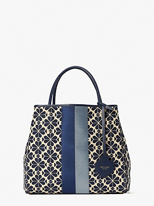 spade flower jacquard stripe everything medium tote