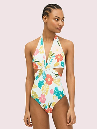 tropical floral halter one-piece